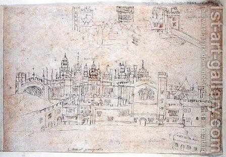 Studies of Palace of Oatlands and Hampton Court, from The Panorama of London, c.1544 by Anthonis van den Wyngaerde - Reproduction Oil Painting