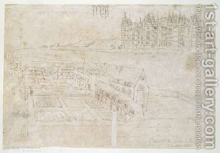 Privy Gardens, Richmond Palace, from The Panorama of London, c.1544 by Anthonis van den Wyngaerde - Reproduction Oil Painting
