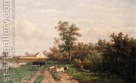 Dutch landscape by Anthonie Jacobus van Wyngaerdt - Reproduction Oil Painting