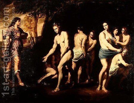 Diana and her Nymphs Surprised by Actaeon by Andrea Vaccaro - Reproduction Oil Painting