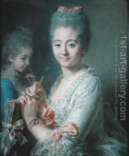 Madame Theodore Lacroix Drawing a Portrait of her Daughter, Suzanne Felicite by Jean Valade - Reproduction Oil Painting