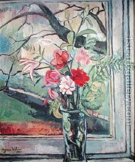 Bouquet of Flowers in Front of a Window, 1930 by Suzanne Valadon - Reproduction Oil Painting
