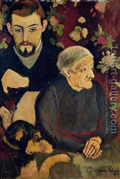Portrait of Maurice Utrillo (1883-1955), his Grandmother and his Dog, 1910 by Suzanne Valadon - Reproduction Oil Painting