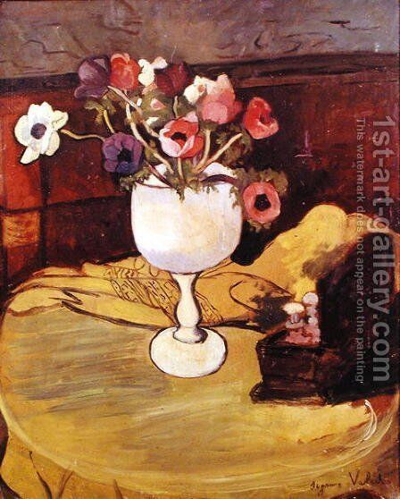 Vase of Flowers, Anemones in a White Glass by Suzanne Valadon - Reproduction Oil Painting
