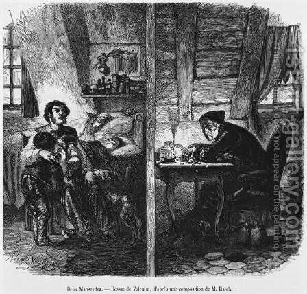 Two garrets, illustration from Le Magasin Pittoresque, Paris, 1855 by Henry Augustin Valentin - Reproduction Oil Painting