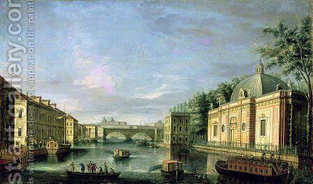 View of the Fontanka River in St Petersburg, 1750s by Giuseppe Valeriani - Reproduction Oil Painting