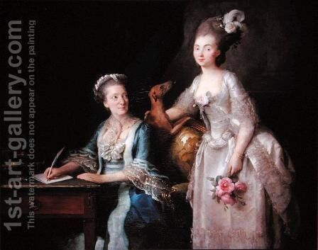 Portrait of an elderly lady with her daughter by Anne Vallayer-Coster - Reproduction Oil Painting