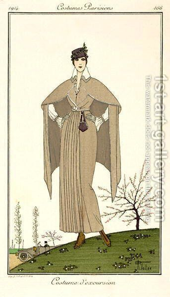 Travel Dress, from Costumes Parisiens 1914 by Armand Vallee - Reproduction Oil Painting