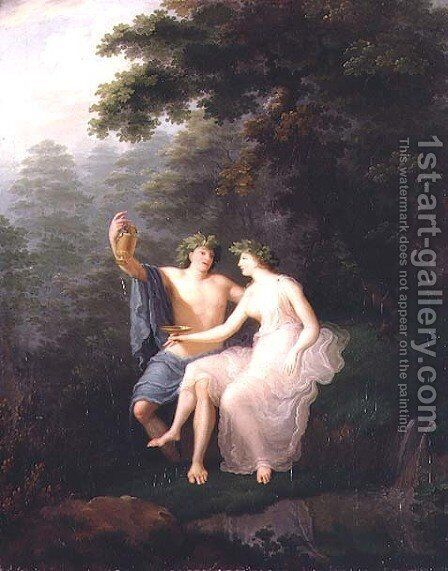 Bacchus and Ariadne by Jacques-Antoine Vallin - Reproduction Oil Painting
