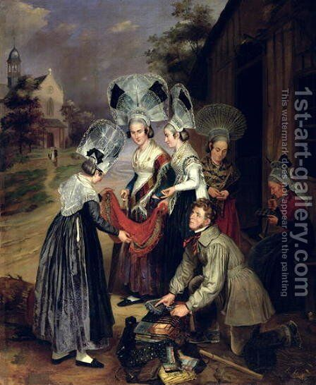 A Peddler Selling Scarves to Women from Troyes by Henri Valton - Reproduction Oil Painting