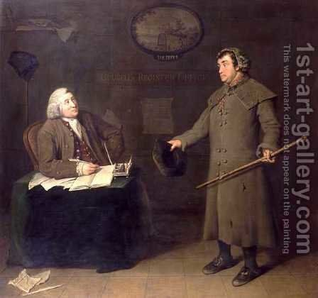 Scene from the Register Office by Joseph Reed by Benjamin Vandergucht - Reproduction Oil Painting