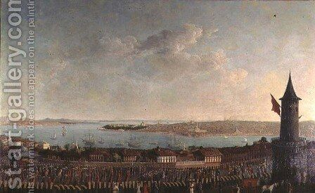 View of Constantinople with a procession of janissaries passing the Galata Tower by Jean Baptiste Vanmour - Reproduction Oil Painting