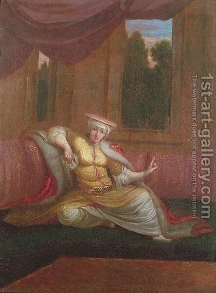 The Sultans Mistress by Jean Baptiste Vanmour - Reproduction Oil Painting