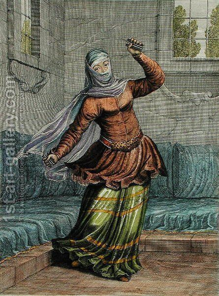 Tchinguis, or Turkish Dancer, plate 54 from Recueil de Cent Estampes representant differentes Nations du Levant tirees sur les Tableaux Peints dapres Nature..., 1707-08 by Jean Baptiste Vanmour - Reproduction Oil Painting