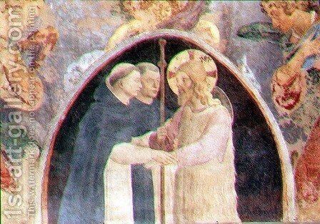 Christ welcoming two Dominican friars, lunette by Giovanni Battista Vanni - Reproduction Oil Painting