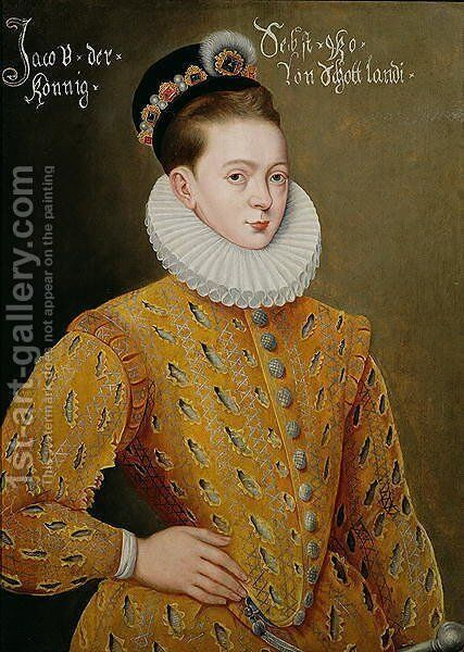 Portrait of James I of England and James VI of Scotland (1566-1625), purported to be the marriage portrait sent to the Danish Court to seduce Anne, his future wife 2 by Adrian Vanson - Reproduction Oil Painting