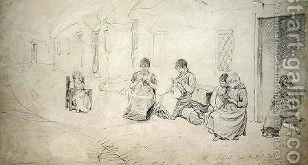 Children outside their school at Market Hill, Ireland, 1808 by Cornelius Varley - Reproduction Oil Painting