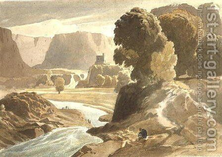 Mountainous landscape with a castle (possibly a view in Wales), c.1802-3 by Cornelius Varley - Reproduction Oil Painting