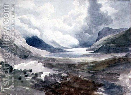 Llyn Gwynant, North Wales by Cornelius Varley - Reproduction Oil Painting