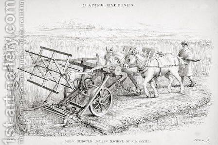Bell's Improved Reaping Machine, engraved by J.M. Lowry by Cornelius Varley - Reproduction Oil Painting