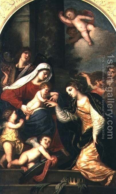 The Mystic Marriage of St. Catherine by (Alessandro) Padovanino (Varotari) - Reproduction Oil Painting
