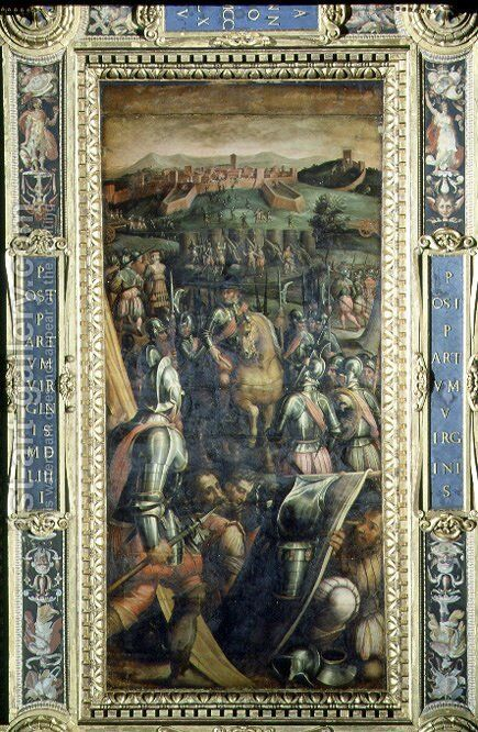 The Capture of Casole from the ceiling of the Salone dei Cinquecento, 1565 by Giorgio Vasari - Reproduction Oil Painting