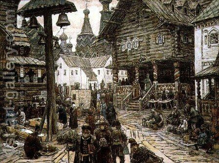 At the crossroads in Kitay Gorod, Moscow, 1912 by Apollinari Mikhailovich Vasnetsov - Reproduction Oil Painting