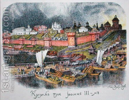 The Moscow Kremlin in the time of Tsar Ivan III (1440-1505) by Apollinari Mikhailovich Vasnetsov - Reproduction Oil Painting