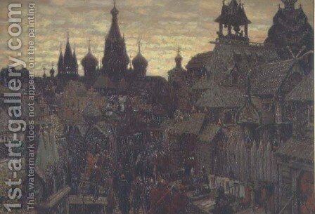 Seventeenth Century Moscow, a Street in Kitay Gorod, 1900 by Apollinari Mikhailovich Vasnetsov - Reproduction Oil Painting