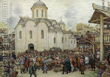 The Defence of the Town, 1918 by Apollinari Mikhailovich Vasnetsov - Reproduction Oil Painting