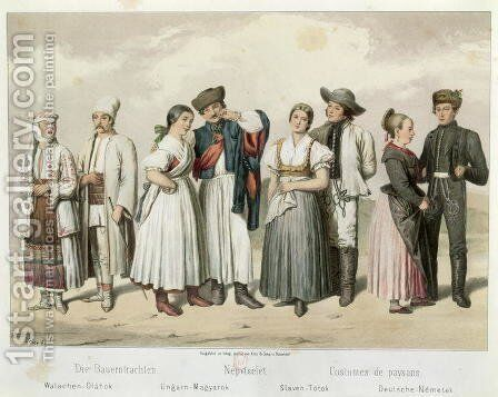 Costumes of Peasants from (L to R) Romania, Hungary, Slovakia and Germany, from 'Esquisses de la Vie Populaire en Hongroie by Gabriel de Pronay, 1855 by H. Veber - Reproduction Oil Painting