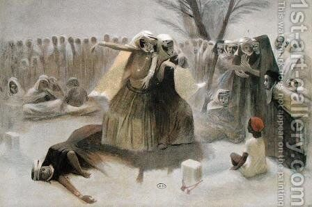 Spring Dance in the Cemetery at Biskra by Jean Veber - Reproduction Oil Painting