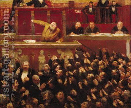 Jean Jaures (1859-1914) Speaking at the Tribune of the Chamber of Deputies, 1903 by Jean Veber - Reproduction Oil Painting