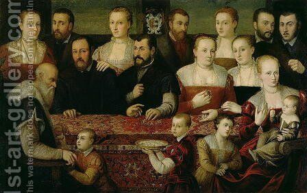 Portrait of a Large Family by (attr. to) Vecellio, Cesare - Reproduction Oil Painting