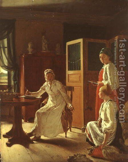Morning of the Lady of the the Manor, 1823 by Aleksei Gavrilovich Venetsianov - Reproduction Oil Painting