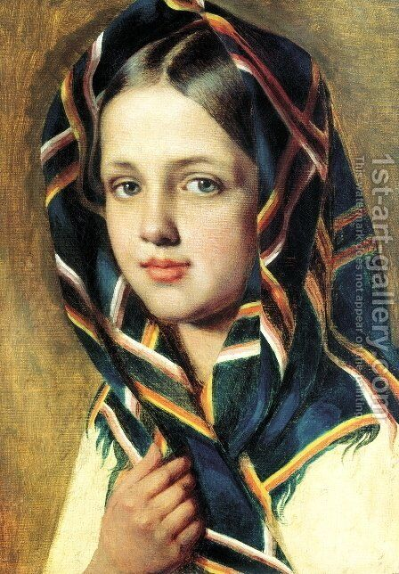Girl in a Shawl by Aleksei Gavrilovich Venetsianov - Reproduction Oil Painting