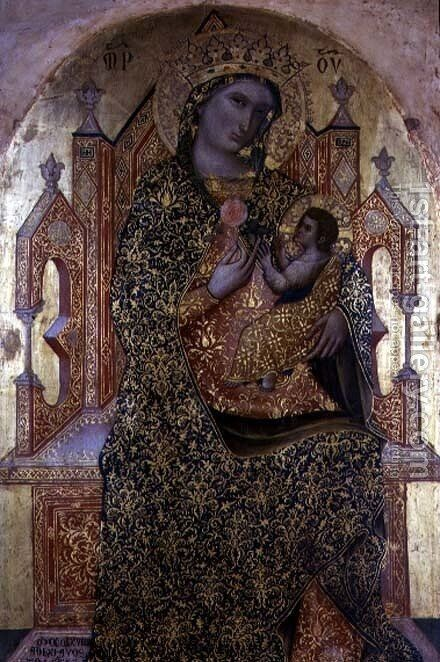Madonna and Child Enthroned by Stefano Veneziano - Reproduction Oil Painting