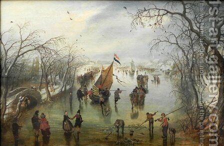 Winter Scene by Adriaen Pietersz. Van De Venne - Reproduction Oil Painting