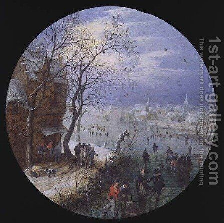 A Winter Skating Scene by Adriaen Pietersz. Van De Venne - Reproduction Oil Painting
