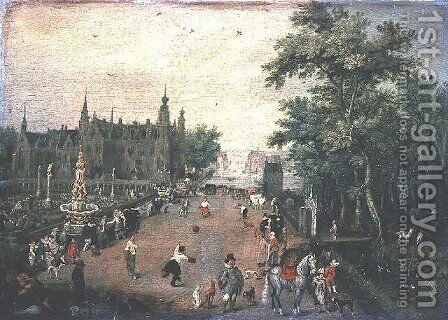 A game of handball with country palace in background by Adriaen Pietersz. Van De Venne - Reproduction Oil Painting