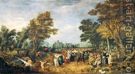 Allegory of the Truce of 1609 between the Netherlands and Spain, 1616 by Adriaen Pietersz. Van De Venne - Reproduction Oil Painting