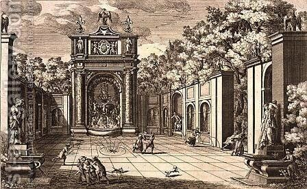 Theatre and trick fountain, from Le Fontane by Giovanni Battista Falda c.1648-78, c.1675, published by 1687 by Giovanni Francesco Venturini - Reproduction Oil Painting