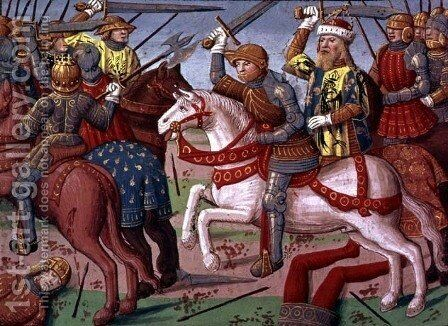 Emperor Charlemagne (747-814) and his Army fighting the Saracens in Spain, 778 from the Story of Ogier by Antoine Verard - Reproduction Oil Painting