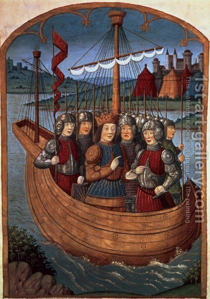 King Arthur and his Knights embarking for the Holy Land, from Lancelot du Lac, c.1490 by Antoine Verard - Reproduction Oil Painting