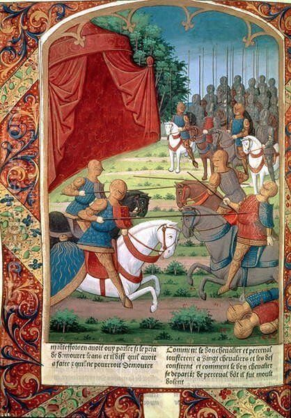 Sir Galahad helping his father, Sir Lancelot, fight twenty knights, before disappearing into the forest without saying who he was, from Lancelot du Lac, c.1490 by Antoine Verard - Reproduction Oil Painting