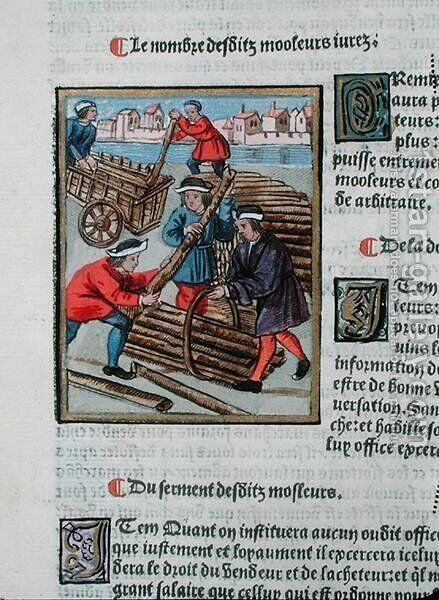 The Mouleur, worker employed to control and measure wood sales, from Ordonnances Royaux de la Juridiction de la Prevote des Marchands de la Ville de Paris, 1528 by Antoine Verard - Reproduction Oil Painting