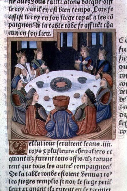 King Arthur and the Knights of the Round Table, from Lancelot du Lac, c.1490 by Antoine Verard - Reproduction Oil Painting
