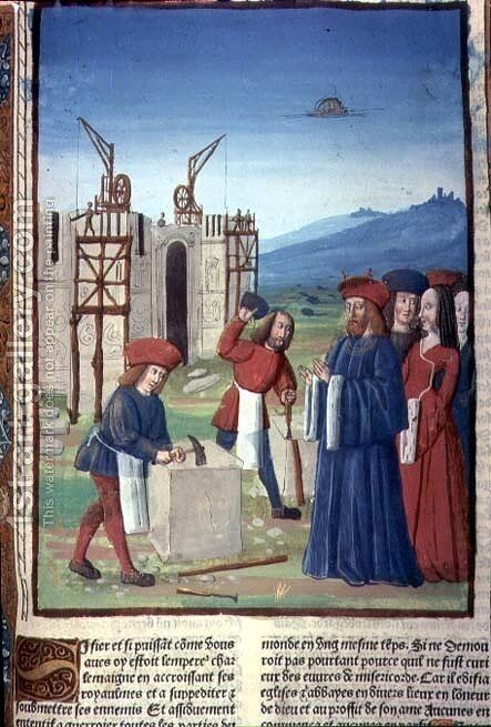 Charlemagne 747-814 founding the Church and Abbey at Aix la Chapelle 796 AD, 1493 by Antoine Verard - Reproduction Oil Painting
