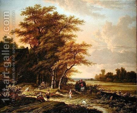 Evening Landscape with Travellers on a Path by Adriaen Hendricksz Verboom - Reproduction Oil Painting