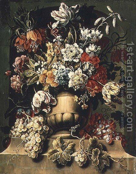Still Life with fruit and Flowers by Caspar Pieter I Verbrugghen - Reproduction Oil Painting
